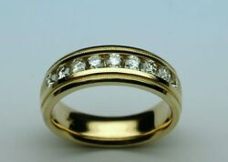 0.90 Ct Real Diamond Wedding Mens Ring 14k Solid Yellow Gold Band Size 10 11