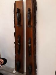 Pair Mid Century African Tribal Sculpture Live Edge Wall Hangings