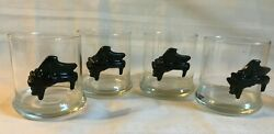 Old Fashioned Glasses With Ceramic 3-d Grand Piano Embelishment  Set Of 4