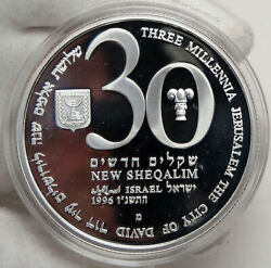 1996 Israel 48th Anniv Jewish State Vintage Proof Silver 30 Shekels Coin I88178
