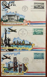 Us C34/c35/c36 10/15/25c Airmail Fdcs Hand Painted By Dorothy Knapp Cover