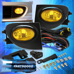 For 02-05 Honda Civic Si 3dr Jdm Yellow Bumper Fog Lights Lamps + Bulbs And Wiring