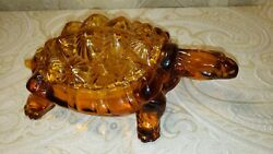 Vintage Lg Wright Amber Glass Turtle Covered Candy Dish Mid Century Knobby
