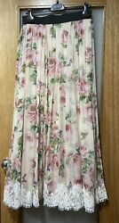 Dolce And Gabbana Embroidered Tulle Floral Rose Silk Gauze Maxi Skirt Sz It50/us14
