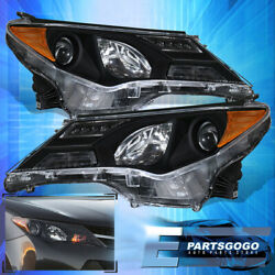 For 13-15 Rav4 Black Amber Projector Replacement Driving Headlights Lamps Pair