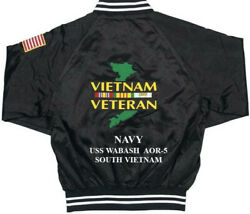 Vietnam Uss Wabash Aor-5 Navy 1-sided Satin Jacket Back Only Embroidered