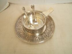 And Co Sterling Silver Porringer W/ Tray Children At Play