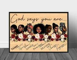 African American Poster God Says You Are Black Poster Black Woman Print Gift F