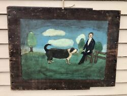 Antique Vermont Folk Art Early 19th Century Oil On Board, Naive Painting, Dog