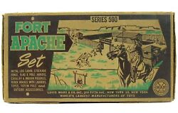 Vintage 1950's Marx Fort Apache Cavalry Indian Tin Playset W/bags Box And Insert