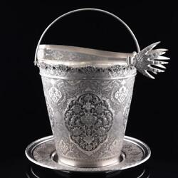 Antique Islamic Silver 84 Ice Bucket Tray And Tong Engraved Floral And Birds W857gr
