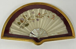 Antique Fan Gilt Framed Wall Hanging Display Case Silk Embroidered Flowers