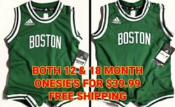 Msrp 35ea-nwt Pair 2 Boston Celtics Authentic Nba Adidas 12-18mth Baby Outfits