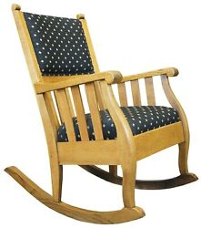 20th Century Oak Mission Arts And Crafts Rocker Rocking Chair Black And Gold Fabric