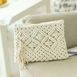 Women#x27;s Bohemian Style Straw Woven Day Clutches Bags Fashionable Simple Tassel $35.00