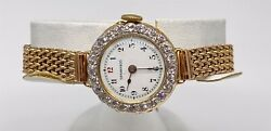 Vintage And Co 15000 18k 9k Yellow Gold Ladies 3ct Old Euro Diamond Watch