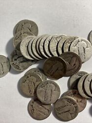 Roll Of 10 Standing Liberty Quarters 90 Silver 40 Coins. Mainly Dateless.