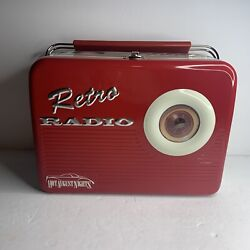 Vtg Retro Radio Red Collectible Tin Lunch Box Silver Crane Co Hot August Nights
