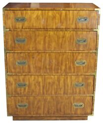 1975 Dixie Campaigner Walnut Highboy Chest Of Drawers Campaign Dresser Mcm 545