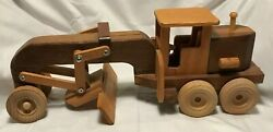 Handcraftedhardwoodconstruction Road Grader Moveable Blade And 6 Turning Wheels