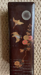 Japan Antique Japanese Lacquer Bird Flora Wooden Box Hand Painted