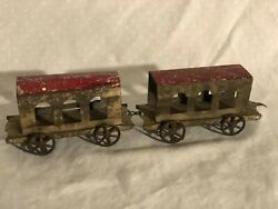 Vintage Pressed Tin Toy Train Passenger Cars Fallows Ives