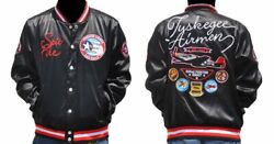 New Mens Tuskegee Airmen Red Tails Satin Fraternity Jacket Button Up Coat
