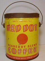 Rare Old Vintage 1940s Red Dot Graphic Coffee Tin 3 Pound Chattanooga Tennessee