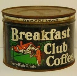 Old Vtg 50s Breakfast Club Equestrian Horse Racing Graphic Coffee Tin One Pound