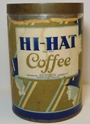 Rare Old Vintage 1920s Hi-hat Coffee Tin Graphic Tall 1 Pound Can Portland Maine