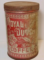 Old Vintage 1910s Royal Dutch Coffee Tin Graphic 1 Pound Can Albany New York Usa