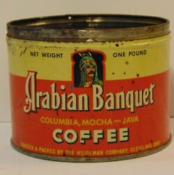 Old Vintage 1950s Arabian Banquet Graphic Coffee Tin One Pound Cleveland Ohio Oh