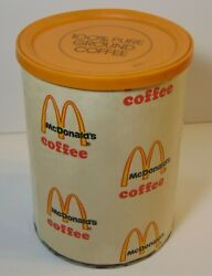 Rare Old Vintage 1970s Mcdonald's Coffee Paper Label Coffee Tin Store Display