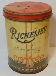 Old Vintage 1920s Richelieu Coffee Tin Graphic Tall 1 Pound Can Chicago Illinois
