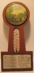 Old Wooden Advertising Thermometer Tin And Glass Frame Johnson Downingtown Pa Bbb