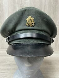 Vintage Us Army Military Officer Dress Hat Visor Cap Unknown Brand Sz 6 7/8