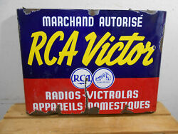 Early Rca Victor Radios 25 X 18 X 3 D/s Dealer Store Hanging Porcelain Sign