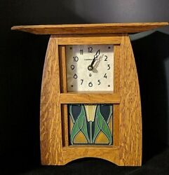 Schlabaugh Arts And Crafts Clock Oak Signed Lotus Motawi Tile Hand Crafted Rare