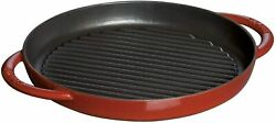Staub Grill And Fring Pan Round Cherry 26cm Grill Pan Two-handed Casting 40510-309