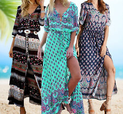 Women#x27;s Casual Sundress Boho Beach Slit Long Maxi Floral Summer Beach Dress $17.99