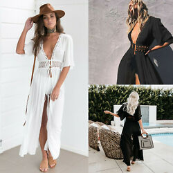 Women#x27;s Bathing Suit Cover Up Lace Boho Beach Maxi Summer Bikini Sundress Dress $17.99