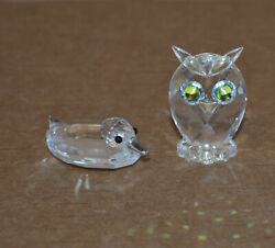 2 Beautiful Crystal Figurines Small Duck And Owl - Very Nice.