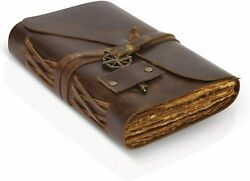 Vintage Leather Journal - Antique Leather Bound Journal With Deckle Edge 7 X 5