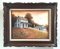 Original Oil Painting Signed L. Percy, Vintage Farmhouse In Country Plein Air