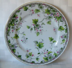 Monica Cake Plate Andrea By Sadek Pink White Flowers Leaves Grapes Ivy 10.5