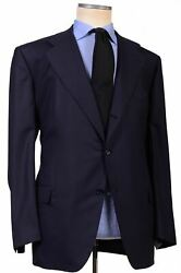 Kiton Napoli Hand Made Navy Blue Wool Business Suit New Big And Tall
