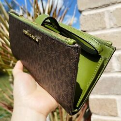 Michael Kors Double Zip Phone Case Wallet Wristlet Brown Signature MK Green $89.00