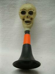 Halloween Party Noise Maker Horn Skull Squeeze Head Old Vtg Antique