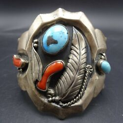 Heavy Vintage Navajo Sterling Silver Branch Coral And Turquoise Cuff Bracelet