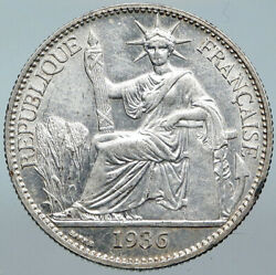 1936 A French Indo-china Vintage Silver 50 Cent Coin Old France Republic I88494